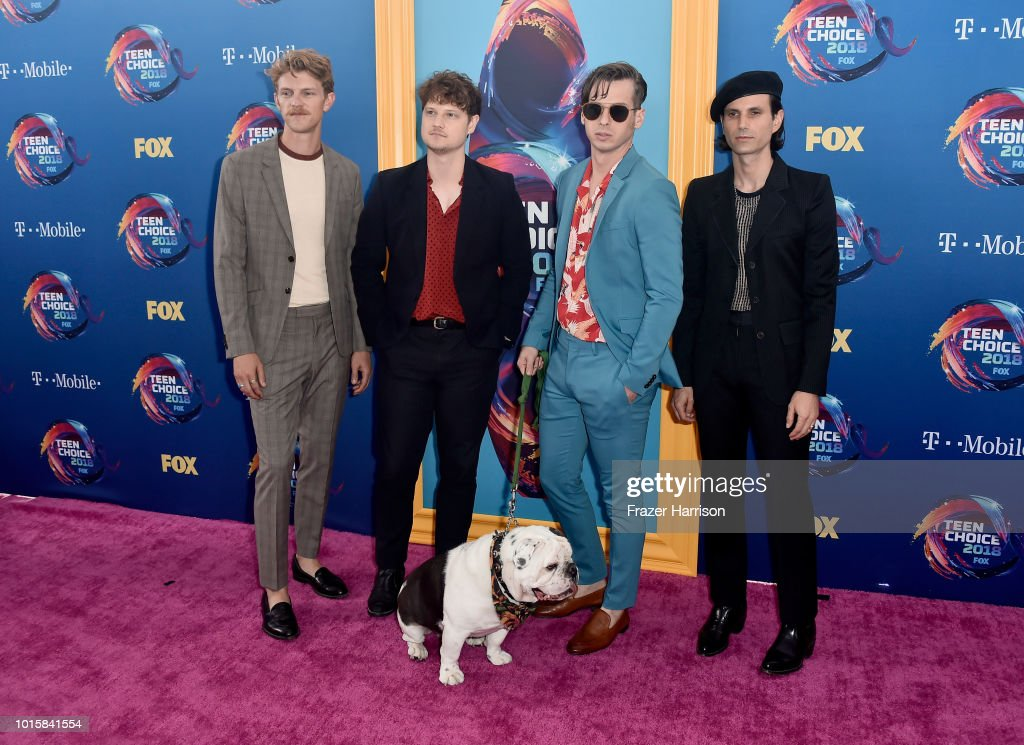 Mark Pontius, Isom Innis, Mark Foster, and Sean Cimino of Foster the People attend FOX's Teen Choice Awards at The Forum on August 12, 2018 in Inglewood, California.