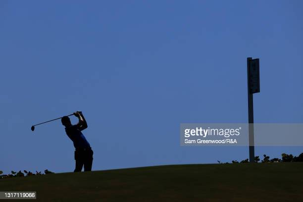 Mark Power of Team Great Britain and Ireland plays his shot from the 14th tee during Sunday foursomes matches on Day Two of The Walker Cup at...