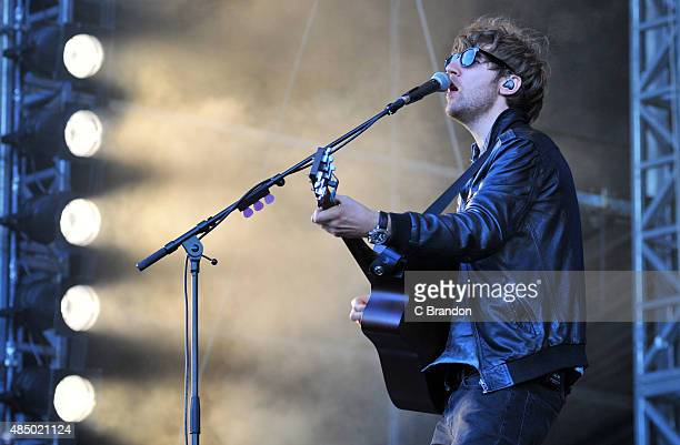 Mark Prendergast of Kodaline performs on stage during Day 2 of the V Festival at Hylands Park on August 23, 2015 in Chelmsford, England.