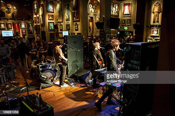 Mark Prendergast, Stephen Garrigan and Jason Boland of Kodaline perform at the Hard Rock Cafe in Manchester for the Absolute Radio Presentsof...