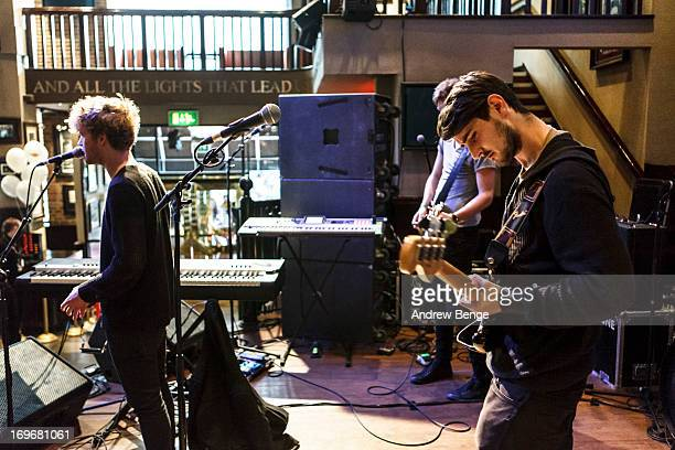 Mark Prendergast, Stephen Garrigan and Jason Boland of Kodaline perform at the Hard Rock Cafe in Manchester during sound check for the Absolute Radio...