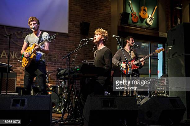 Mark Prendergast, Stephen Garrigan, Jason Boland and Vinny May of Kodaline perform at the Hard Rock Cafe in Manchester during sound check for the...
