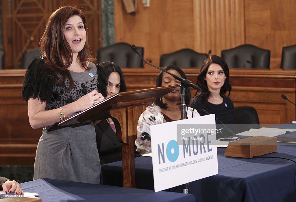 mark President Meg Lerner speaks on Capitol Hill on NO MORE Day with mark Brand Ambassador Ashley Greene on March 13, 2013 in Washington, DC.