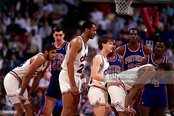 Mark Price of the Cleveland Cavaliers sets up for a play after a throwin against the Detroit Pistons circa 1988 during an NBA game at the Cleveland...