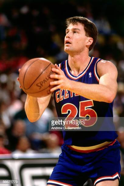 Mark Price of the Cleveland Cavaliers shoots a free throw against the Los Angeles Clippers at the LA Sports Arena on January 21, 1994 in Los Angeles,...