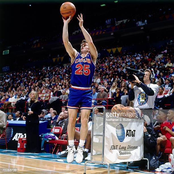 Mark Price of the Cleveland Cavaliers shoots during the 1994 ATT three point Shootout on February 12 1994 at the Target Center in Minneapolis...