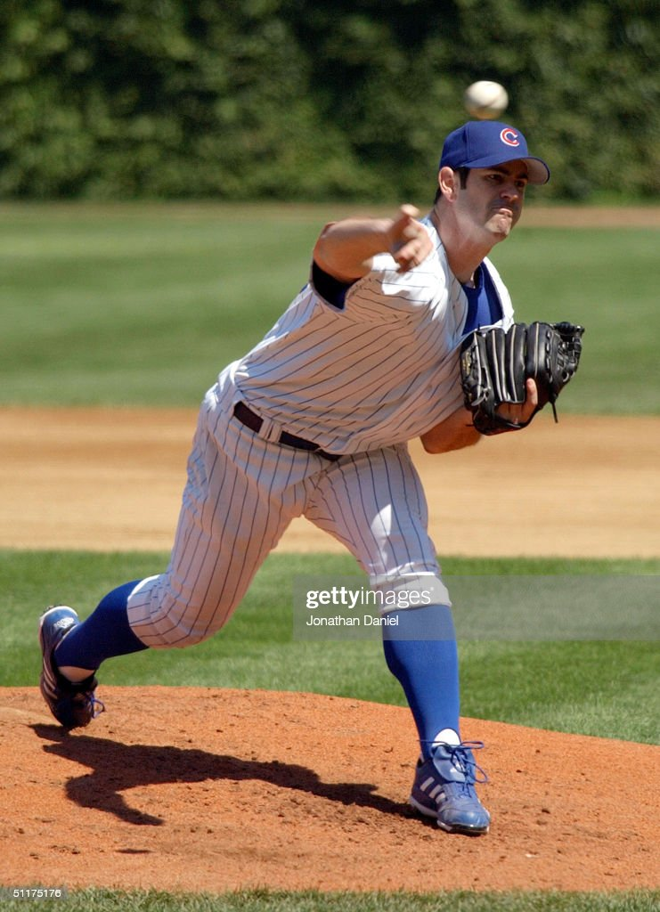 Mark Prior #22 of the Chicago Cubs delivers the ball on his way to nine strike outs against the Los Angeles Dodgers during a game on August 15, 2004 at Wrigley Field in Chicago, Illinois. The Dodgers defeated the Cubs 8-5.