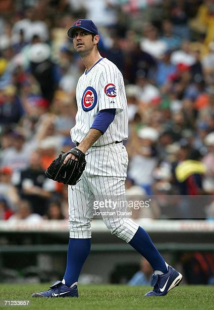 Mark Prior of the Chicago Cubs reacts after giving up a tworun home run to Chris Shelton of the Detroit Tigers in the 1st inning on June 18 2006 at...