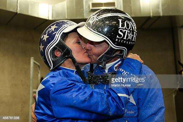 Mark Purdon celebrates with his partner Natalie Rasmussen after winning the NZ Trotting Cup during the Christchurch New Zealand Trotting Cup at...