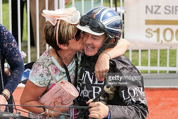 Mark Purdon driving Lazarus is congratulated after winning race 7 Sires Stakes Final during the New Zealand Trotting Cup at Addington Raceway on...
