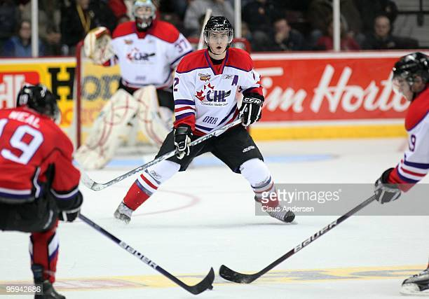 Mark Pysyk of Team Orr defends during the Home Hardware CHL/NHL Top Prospects game against Team Cherry on January 20 2010 at the WFCU Centre in...