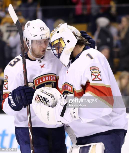 Mark Pysyk of the Florida Panthers of the Florida Panthers celebrates with Roberto Luongo after the Panthers defeat the Boston Bruins 42 at TD Garden...