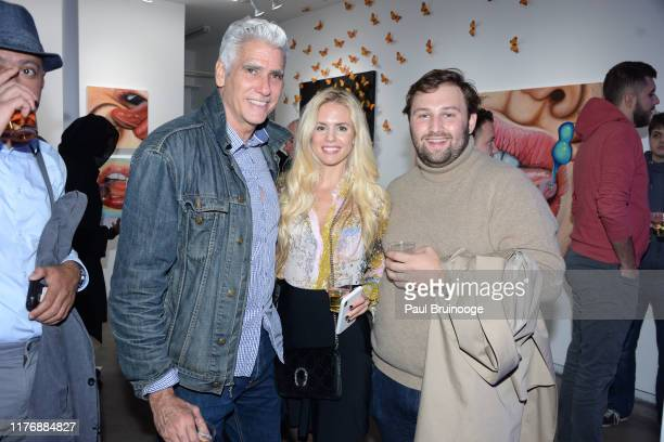 Mark Raey Aubrie Wienholt and Gabriel Cosmo attend Delusions of the Wild Solo Exhibition By Alexandra Houx Grounds at 213 Bowery on October 17 2019...