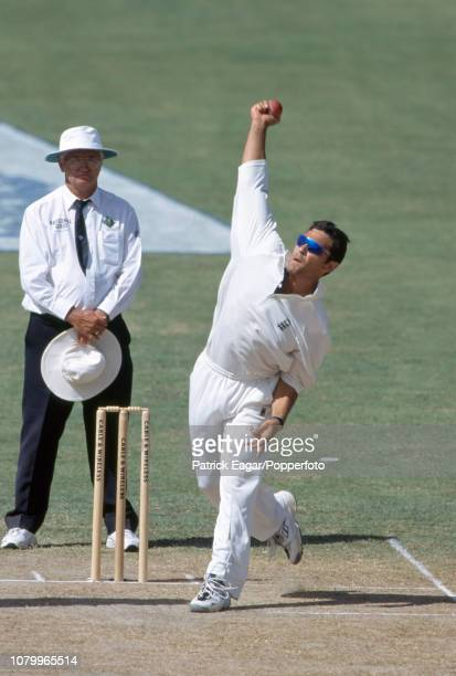 Mark Ramprakash bowling for England during the 6th Test match between West Indies and England at the Antigua Recreation Ground St John's Antigua 22nd...