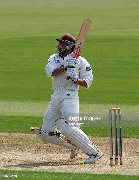 Mark Ramprakash of Surrey hits out during day one of the LV County Championship match between Hampshire and Surrey at the Rosebowl on May 14 2008 in...