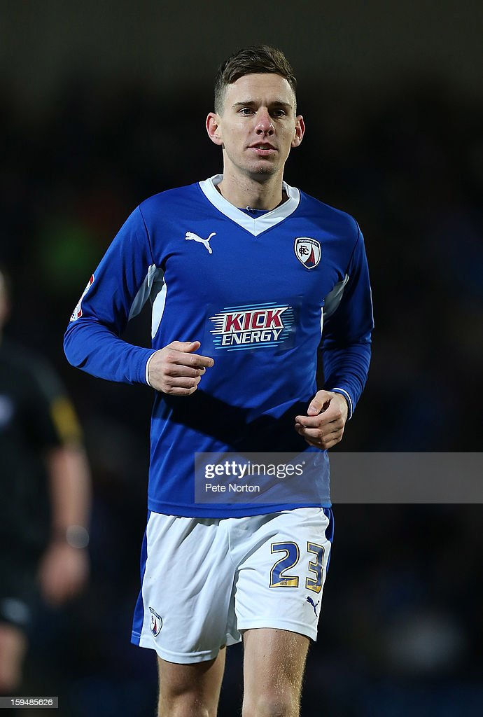 Mark Randall of Chesterfield in action during the npower League Two match between Chesterfield and Northampton Town at the Proact Srtadium on January 12, 2013 in Chesterfield, England.
