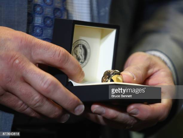 Mark Recchi holds his Hockey Hall of Fame ring during a media opportunity at the Hockey Hall Of Fame and Museum on November 10 2017 in Toronto Canada