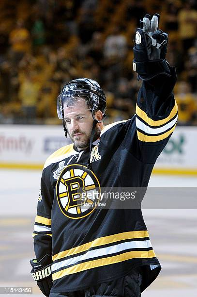 Mark Recchi of the Boston Bruins celebrates after defeating the Vancouver Canucks in Game Three of the 2011 NHL Stanley Cup Final at TD Garden on...