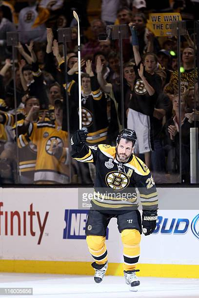Mark Recchi of the Boston Bruins celebrates after defeating the Vancouver Canucks in Game Six of the 2011 NHL Stanley Cup Final at TD Garden on June...