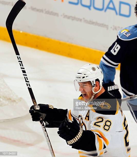 Mark Recchi of the Boston Bruins celebrates his second goal of the game against the Florida Panthers at the BankAtlantic Center on November 24 2010...