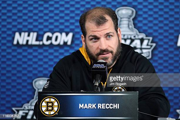 Mark Recchi of the Boston Bruins talks to the media after defeating the Vancouver Canucks in Game Six of the 2011 NHL Stanley Cup Final at TD Garden...