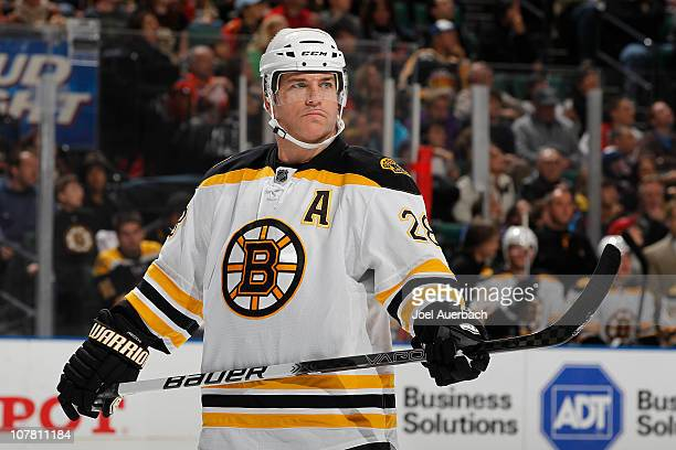 Mark Recchi of the Boston Bruins waits for a face off against the Florida Panthers on December 27 2010 at the BankAtlantic Center in Sunrise Florida...