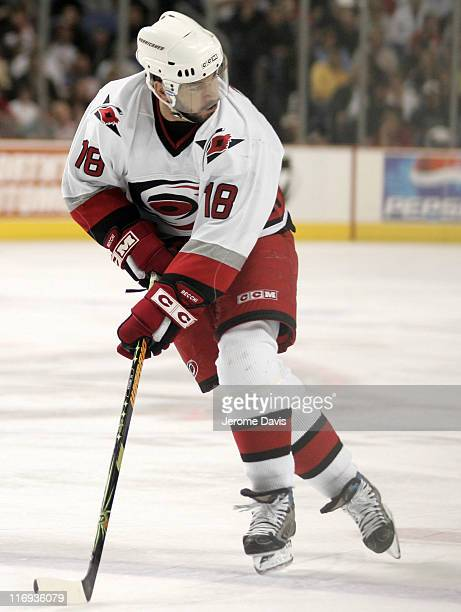 Mark Recchi of the Carolina Hurricanes skates on net during game 4 of the Eastern Conference Finals versus the Buffalo Sabres at the HSBC Arena in...