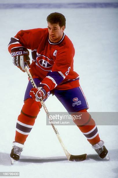 Mark Recchi of the Montreal Canadiens skates with the puck during warm ups of a hockey game against the Washington Capitals on November 1 1995 at the...