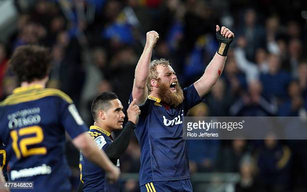 Mark Reddish of the Highlanders celebrates victory over the Chiefs during the Super Rugby Qualifying Final match between the Highlanders and the...
