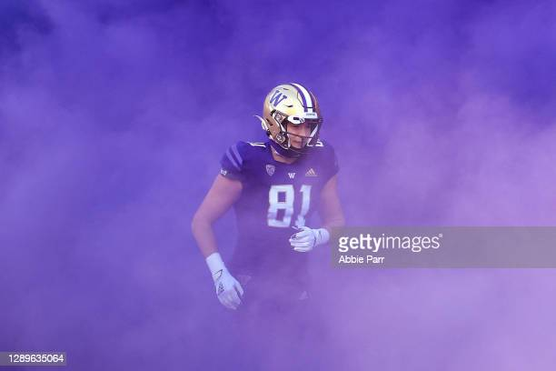 Mark Redman of the Washington Huskies takes the field before their game against the Stanford Cardinal at Husky Stadium on December 05, 2020 in...