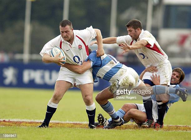 Mark Regan of England battles with a defender during the international friendly match between Argentina 'A' and England on June 17 2002 played at the...