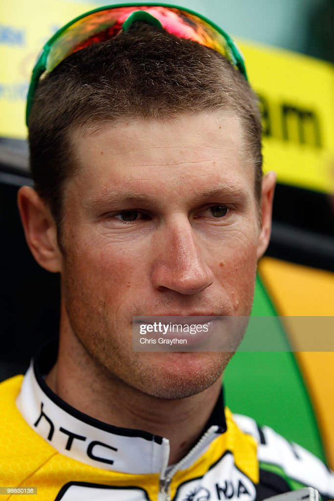 Mark Renshaw of Australia riding for team HTC-Columbia waits for the start of stage two of the Tour of California on May 17, 2010 in Davis, California.