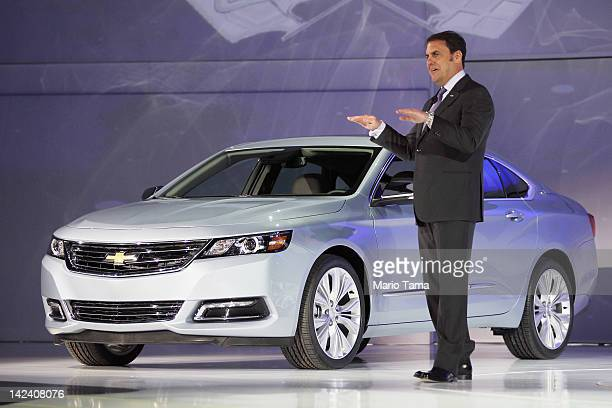 Mark Reuss President of General Motors North America introduces the newly unveiled 2014 Chevrolet Impala at the New York International Auto Show at...