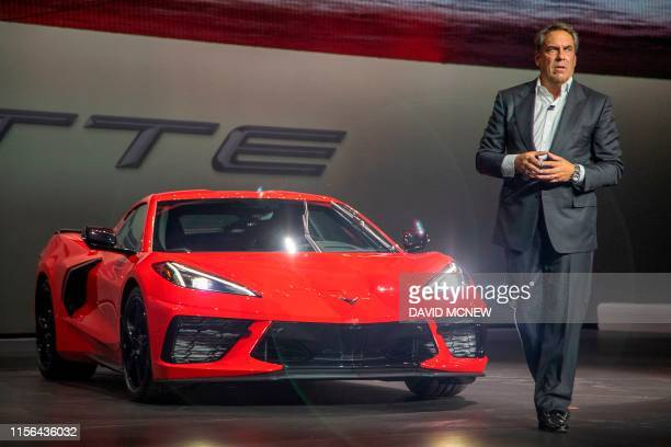 Mark Reuss president of General Motors speaks during the unveiling of the new midengine 2020 Corvette Stingray during the Next Generation Corvette...