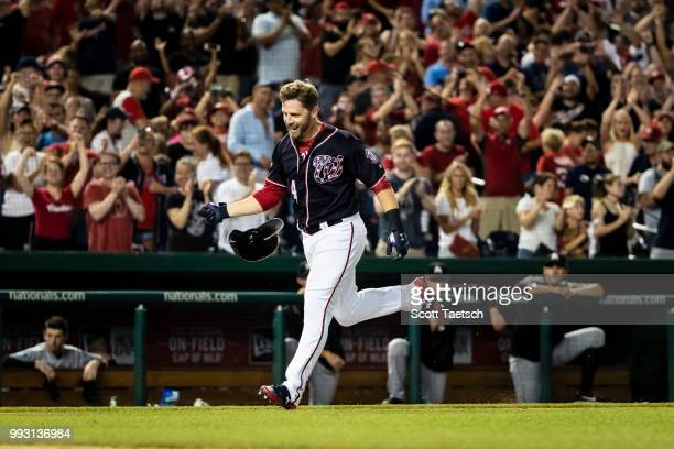 Mark Reynolds hits the game winning home run against the Miami Marlins during the ninth inning at Nationals Park on July 06 2018 in Washington DC
