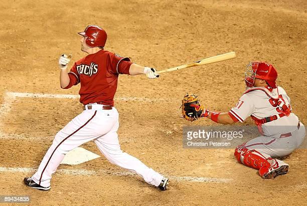 Mark Reynolds of the Arizona Diamondbacks hits a 2 run home run against the Philadelphia Phillies during the ninth inning of the major league...