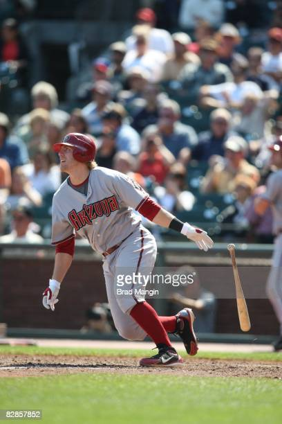 Mark Reynolds of the Arizona Diamondbacks hits during the game against the San Francisco Giants at ATT Park in San Francisco California on September...