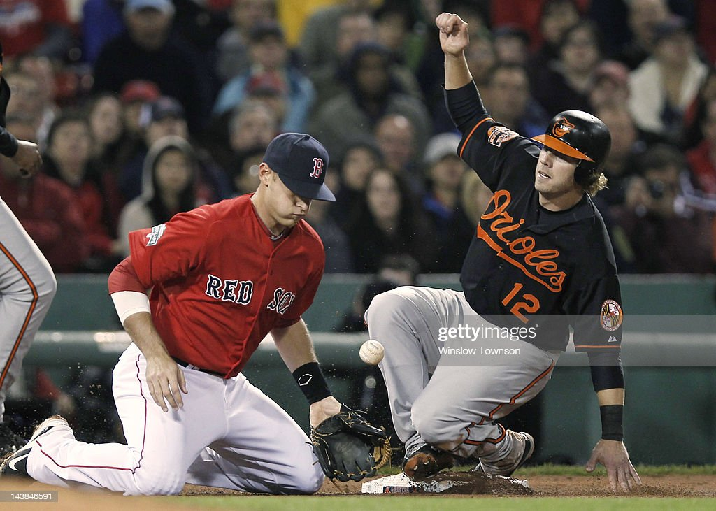 Mark Reynolds #12 of the Baltimore Orioles slides safely into third base as Will Middlebrooks #64 of the Boston Red Sox can't handle the throwduring the seventh inning of the game at Fenway Park on May 4, 2012 in Boston, Massachusetts.