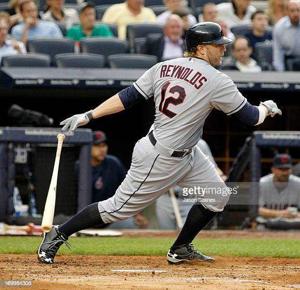 Mark Reynolds of the Cleveland Indians in action against the New York Yankees in the first inning at Yankees Stadium on June 3 2013 in the Bronx...