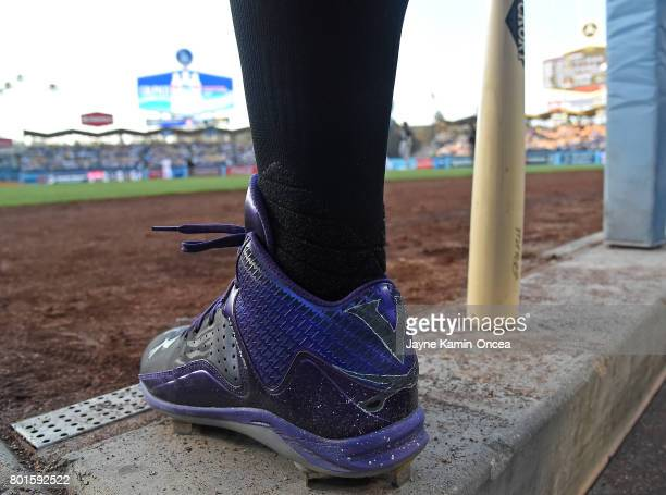 Mark Reynolds of the Colorado Rockies waits on the dugout steps in the game against the Los Angeles Dodgers at Dodger Stadium on June 23 2017 in Los...