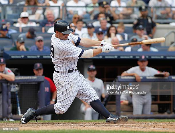 Mark Reynolds of the New York Yankees bats against the Boston Red Sox at Yankee Stadium on September 8 2013 in the Bronx borough of New York City