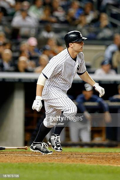 Mark Reynolds of the New York Yankees bats during the game against the Tampa Bay Rays at Yankee Stadium on September 24 2013 in New York New York The...