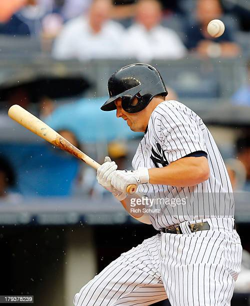 Mark Reynolds of the New York Yankees gets hit by a pitch in the second inning against the Chicago White Sox in a MLB baseball game at Yankee Stadium...