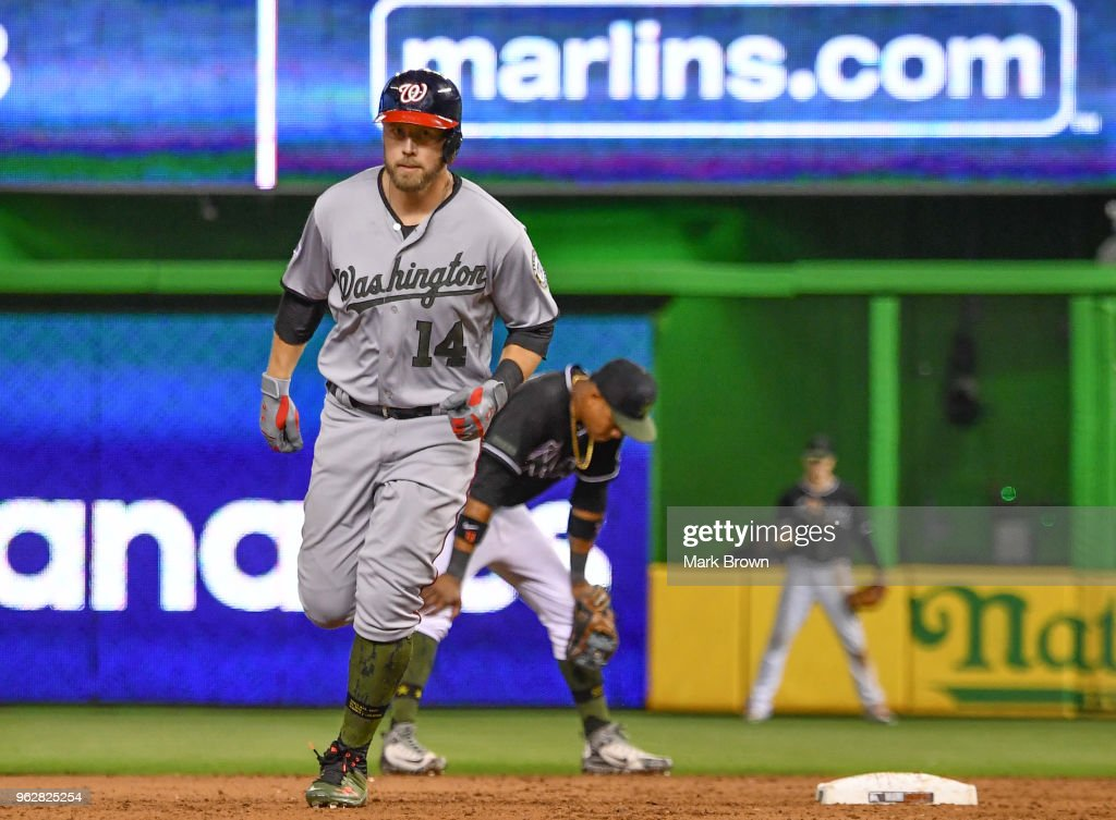 Mark Reynolds #14 of the Washington Nationals runs the bases after hitting a homerun in the ninth inning during the game against the Miami Marlins at Marlins Park on May 26, 2018 in Miami, Florida.