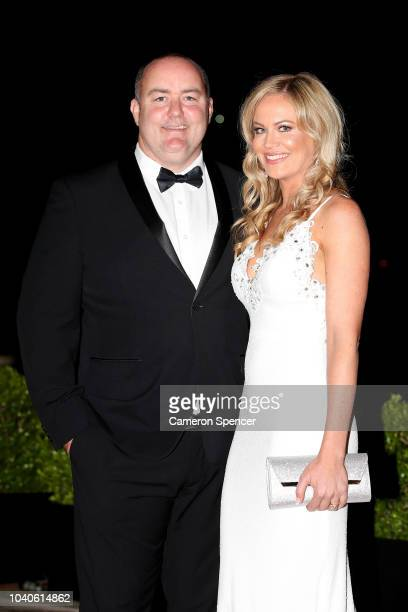 Mark Riddell and his wife Karli Riddell arrive at the 2018 Dally M Awards at Overseas Passenger Terminal on September 26 2018 in Sydney Australia