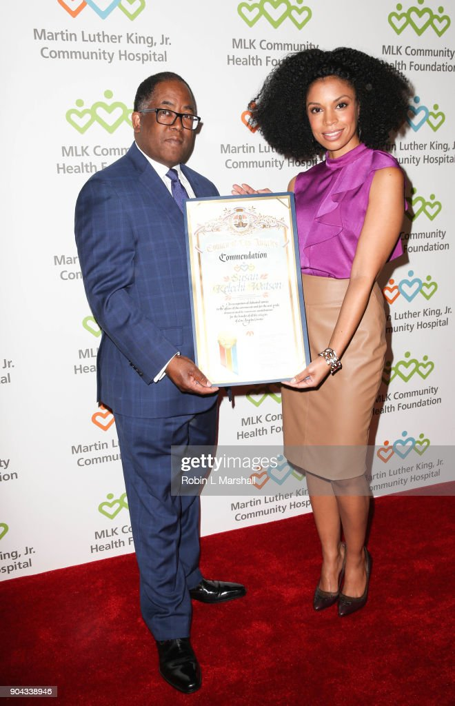 Mark Ridley-Thomas and Susan Kelechi Watson attend the MLK Community Health Foundation's 'Sharing The Dream' Luncheon at Dorothy Chandler Pavilion on January 12, 2018 in Los Angeles, California.