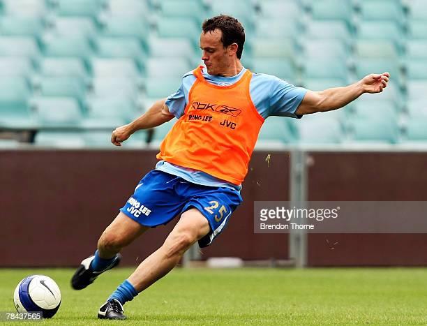 Mark Robertson kicks the ball during a training session with Sydney FC at the Sydney Football Stadium on December 13, 2007 in Sydney, Australia.