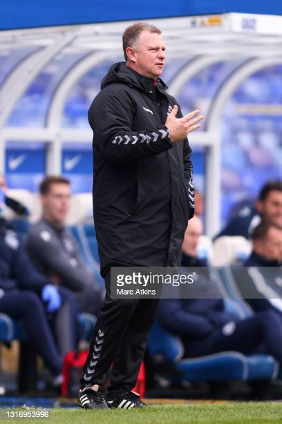 Mark Robins, Manager of Coventry City gives their team instructions during the Sky Bet Championship match between Coventry City and Millwall at St...