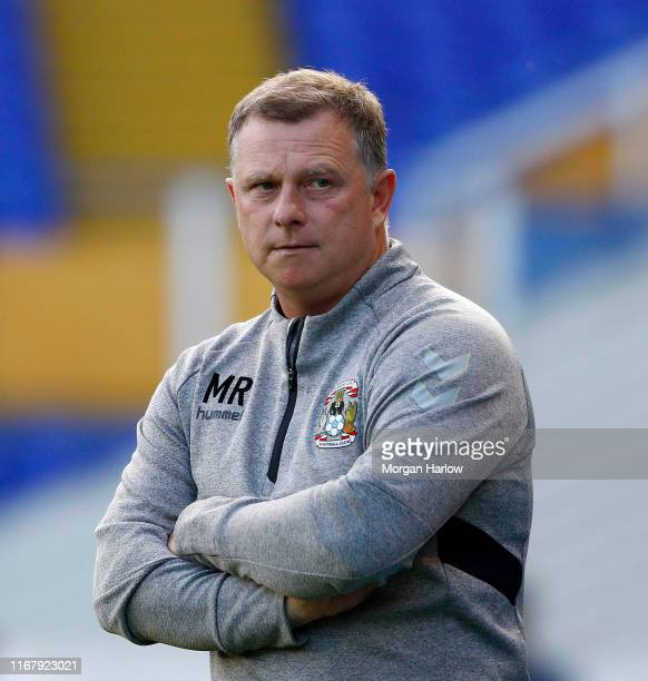 Mark Robins Manager of Coventry City looks on prior to the Carabao Cup First Round match between Coventry City and Exeter City at The Ricoh Arena on...