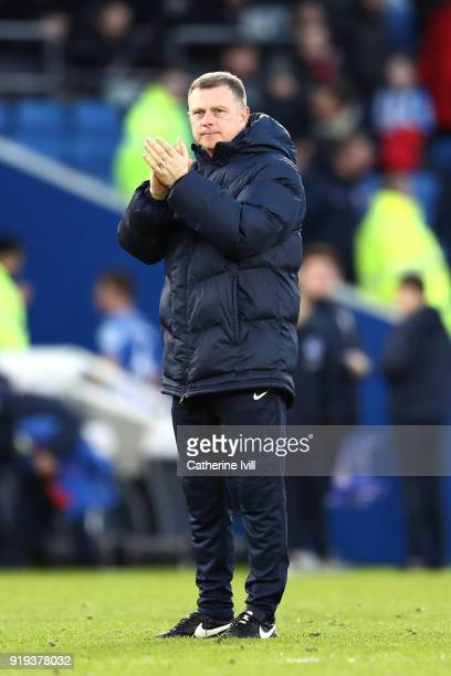 Mark Robins Manager of Coventry City shows appreciation to the fans following the The Emirates FA Cup Fifth Round between Brighton and Hove Albion v...